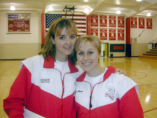 Mt. Horeb Gymnastics coaches Martha Koller Faust and Joy Mlsna